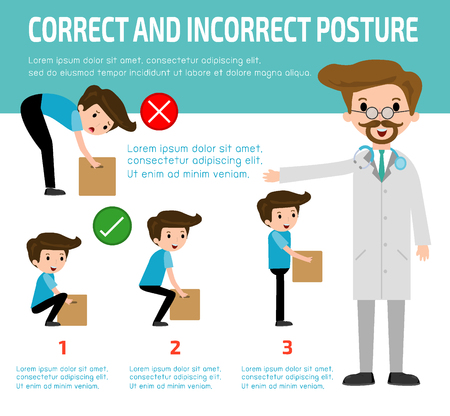 injuring: correct and incorrect posture, health care concept, vector,flat icons design, medical illustration, infographic Vector Illustration