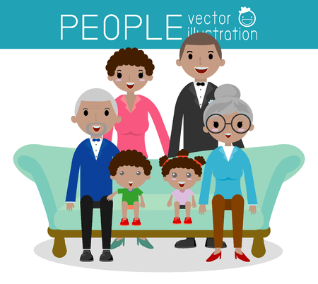 siblings: Family group portrait parents grandparents and children, Happy cartoon family,Vector Illustration Illustration