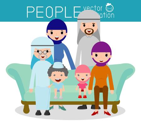 familia árabe lindo, grupo Familia padres retrato abuelos y los niños, la familia feliz de la historieta, ilustración vectorial