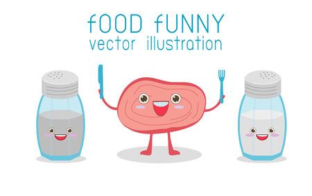 sal: Cartoon Steak y Sal y pimienta, comida divertida, personajes de cómic, ilustración vectorial Vectores
