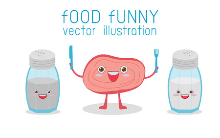 Steak Cartoon and Salt and pepper, food funny, Comic characters, Vector Illustration
