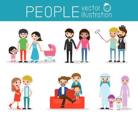 amadores: caracteres personas, grupo de personas, amantes y familiares, diferentes nacionalidades y estilos de vestir, familia y niños, vector de fondo