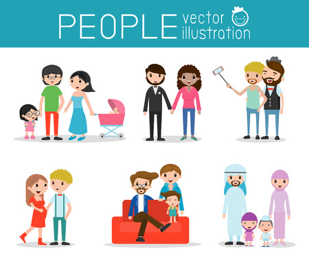 meet: people characters, group of people,lovers and family, Different nationalities and dress styles, family and kids, vector background