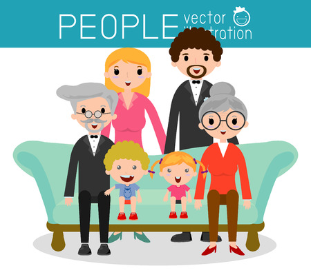 sisters: Family group portrait parents grandparents and children, Happy cartoon family,Vector Illustration Illustration