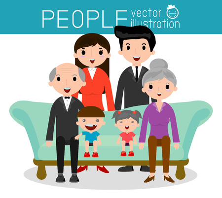 Familie Gruppenbild Eltern Großeltern und Kinder, Happy Cartoon-Familie, Vektor-Illustration