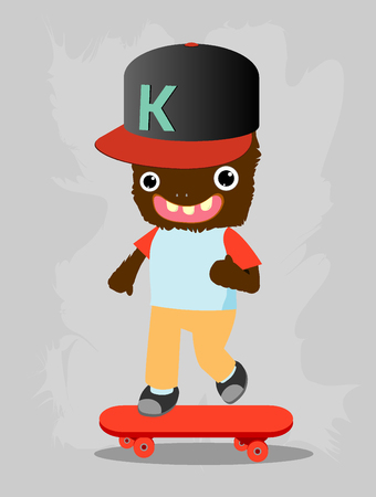 kid vector: skater monster sport cartoon typography, monster kid,Vector Illustration Vectores