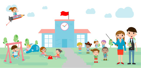 backpack school: Kids go to school, back to school, Cute cartoon children, happy children,  back to school template with kids, teacher and  students, kids and  playground, Vector Illustration.