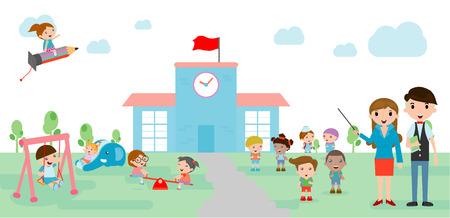 ir al colegio: Los ni�os van a la escuela, de nuevo a la escuela, los ni�os lindos de la historieta, ni�os felices, a la plantilla de la escuela con los ni�os, maestros y estudiantes, ni�os y parque infantil, ilustraci�n vectorial. Vectores