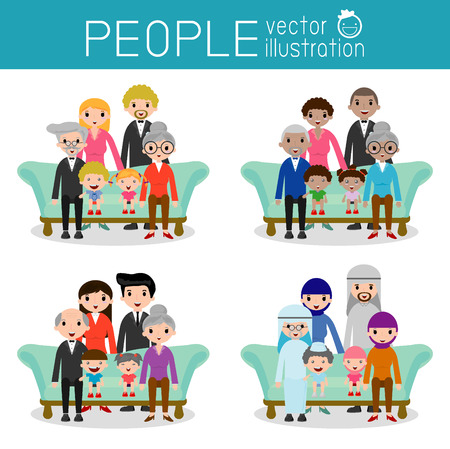 arab girl: set of Happy family, Different nationalities and dress styles, people character cartoon concept, African-American, Asian, Arab, European,family, mother, father,grandparents, girl, boy, Vector
