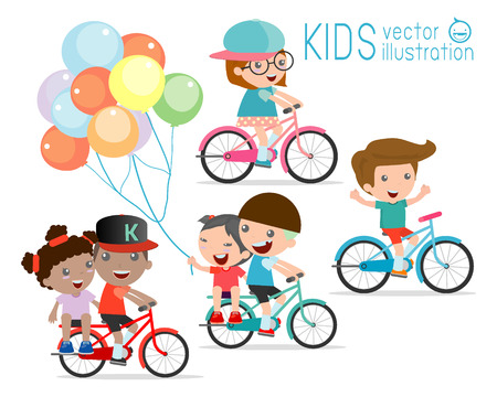 Los niños que montan las bicis, Niño montando en bicicleta, los niños en el vector de la bicicleta en el fondo blanco, ilustración de un grupo de niños en bicicleta sobre un fondo blanco,