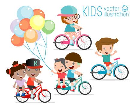 andando en bicicleta: Los niños que montan las bicis, Niño montando en bicicleta, los niños en el vector de la bicicleta en el fondo blanco, ilustración de un grupo de niños en bicicleta sobre un fondo blanco, Vectores