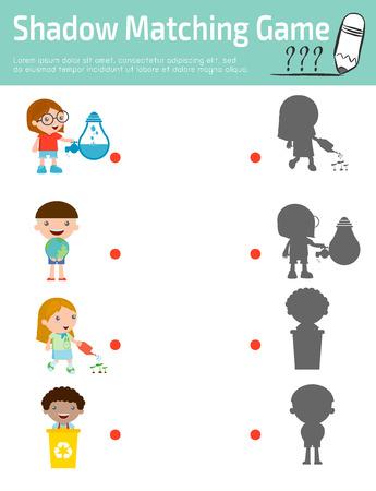 kid vector: Sombra Flash Cards para los niños, juego visual para niños. Conecte la imagen puntos, ilustración vectorial Educación. Vectores