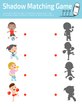 connects: Shadow Matching Game for kids, Visual game for kid. Connect the dots picture,Education Vector Illustration.