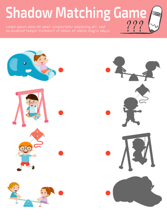 ard: Shadow Matching Game for kids, Visual game for kid. Connect the dots picture,Education Vector Illustration.
