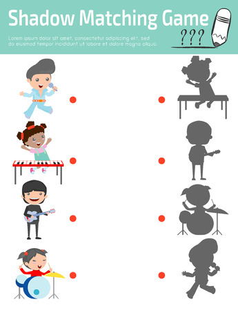 shadow match: Shadow Matching Game for kids, Visual game for kid. Connect the dots picture,Education Vector Illustration.
