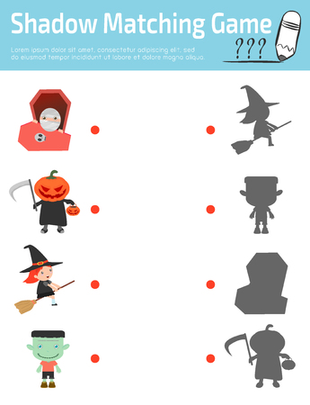 matching: Shadow Matching Game for kids, Visual game for kid. Connect the dots picture,Education Vector Illustration.