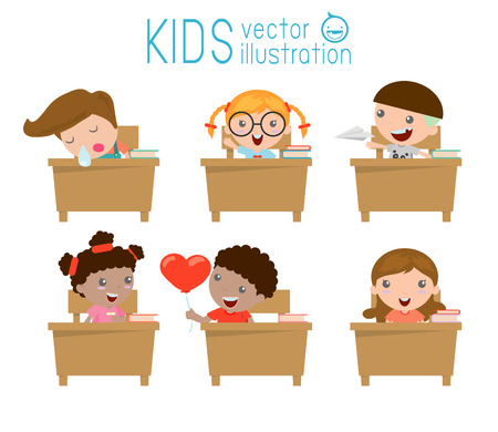 salon de clases: niños en el aula, los niños en el aula, los niños que estudian en el aula, la ilustración de un niños que estudian en el aula, los niños de la escuela, sentado en las mesas, volver a la escuela, ilustración vectorial Vectores