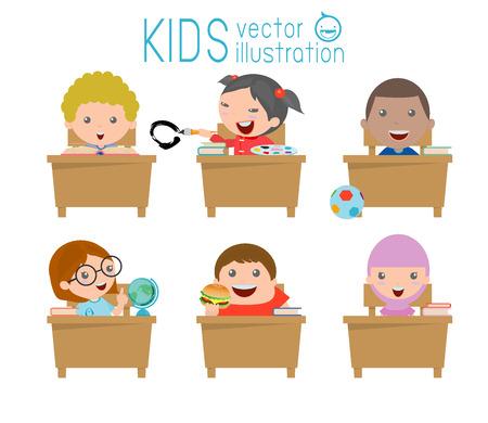 교실에서 아이들, 교실에서 아이, 교실에서 공부하는 아이들이, 아이의 그림 교실에서 공부하고, 작은 학교 어린이, 다시 학교로, 책상에 앉아, 벡터 일 일러스트