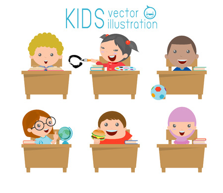 Bambini in aula, bambino in aula, bambini che studiano in aula, illustrazione di un bambini che studiano in aula, bambini delle scuole piccole, seduti ai banchi, Ritorno a scuola, illustrazione vettoriale Archivio Fotografico - 45854683