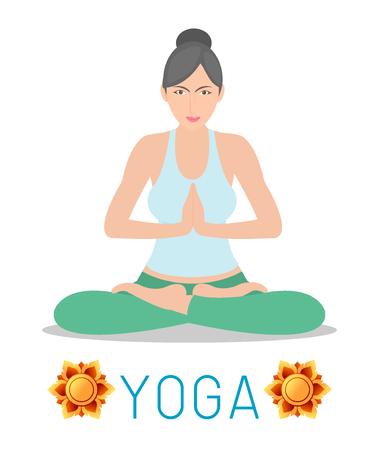 woman vector: woman Practicing Yoga ,flat, icon, happy woman Practicing Yoga , Yoga set. Yoga exercises. Healthy lifestyle on white background , Vector illustration Illustration