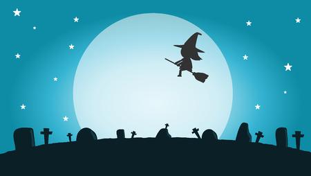 Halloween-Hexe-Silhouette auf dem Mond Standard-Bild - 45854686
