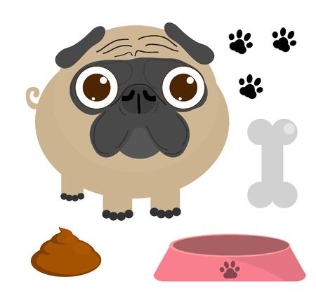 Mops Hund Mops-Welpe, Pug dog-Set isoliert auf weißem Hintergrund, Vektor-Illustration Standard-Bild - 45854662