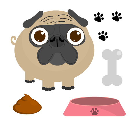 child and dog: Pug dog, Pug Puppy, Pug dog set isolated on a white background, Vector Illustration