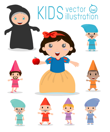 seven: snow white and the seven dwarfs, Snow White, Princess and Dwarfs and witch, Vector Illustration.