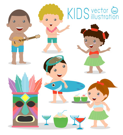 tiki party: Hawaii Kids Vector Set, Hawaiian, Hawaii Set ,Vector illustration cartoon.