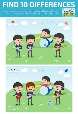 quiz: find differences,Game for kids ,find differences,Brain games, children game, Educational Game for Preschool Children, four kids in a music band, Vector Illustration, Illustration