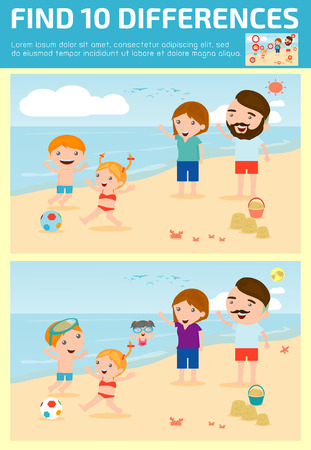 spot the difference: find differences,Game for kids ,find differences,Brain games, children game, Educational Game for Preschool Children, Vector Illustration, Family on the beach