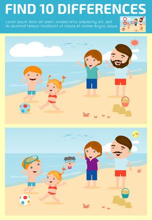 Trovare le differenze, gioco per bambini, trovare le differenze, giochi del cervello, i bambini, gioco educativo per bambini in età prescolare, illustrazione vettoriale, la famiglia sulla spiaggia Archivio Fotografico - 46507994