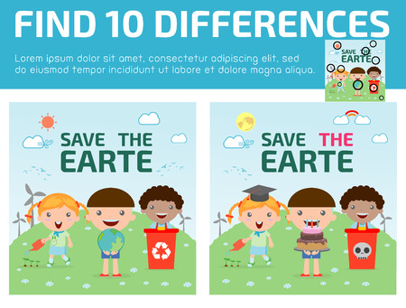 eco notice: find differences,Game for kids ,find differences,Brain games, children game, Educational Game for Preschool Children, Vector Illustration, Kids for Saving Earth