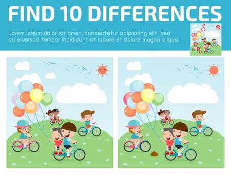preescolar: encontrar las diferencias, Juego para los niños, encontrar diferencias, juegos cerebrales, juego de los niños, juego educativo para niños en edad preescolar, ilustración vectorial, niños que montan las bicis Vectores