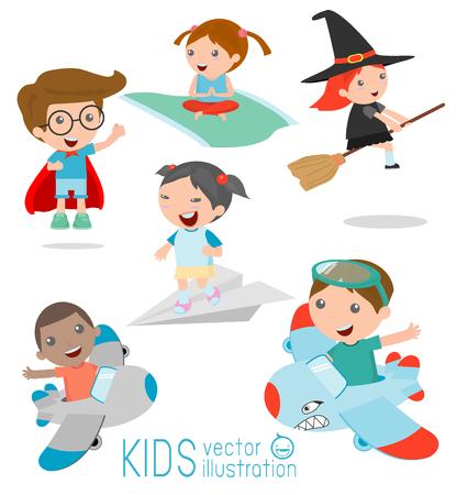 brujas caricatura: ni�os en Airplane Ride, Kid Montar un avi�n de papel, los ni�os que montan una alfombra voladora, los ni�os vuelan, chico super h�roe, bruja, ni�os time.isolated sobre fondo blanco, ilustraci�n vectorial.