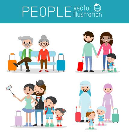 du lịch: Set ký tự du khách gia đình. người dân và trẻ em đi du lịch. Thiết kế phẳng. đi du lịch gia đình đi nghỉ mát. Vector Illustration, kỳ nghỉ gia đình