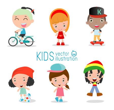 bicicleta vector: Conjunto de diversos niños aislados en fondo blanco. . nacionalidades y estilos de vestir diferente. Los niños europeos, los niños de los Estados Unidos, los niños asiáticos, africanos niños, niños felices, ilustración vectorial