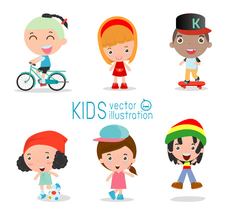 the americas: Set of diverse kids isolated on white background. . Different nationalities and dress styles. European children, Americas Children, Asian children,African children, happy children,Vector Illustration Illustration