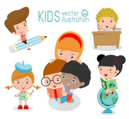 study: felices los niños de dibujos animados en el aula, concepto de la educación, a la plantilla de la escuela con los niños, los niños van a la escuela, de nuevo a la escuela, los niños lindos de la historieta, niños felices, ilustración vectorial. Vectores