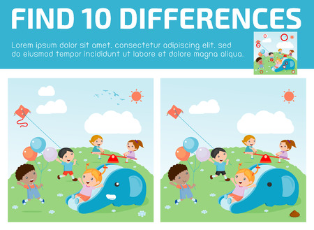 spot the difference: find differences,Game for kids ,find differences,Brain games, children game, Educational Game for Preschool Children, Vector Illustration, kids at playground, kids time.