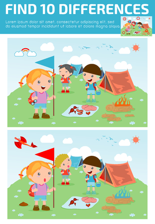 spot the difference: find differences,Game for kids ,find differences,Brain games, children game, Educational Game for Preschool Children, Vector Illustration, kids summer camp, Kids on a Camping Trip.