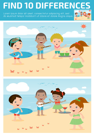 spot the difference: find differences,Game for kids ,find differences,Brain games, children game, Educational Game for Preschool Children, Vector Illustration, Hawaii Kids . Illustration