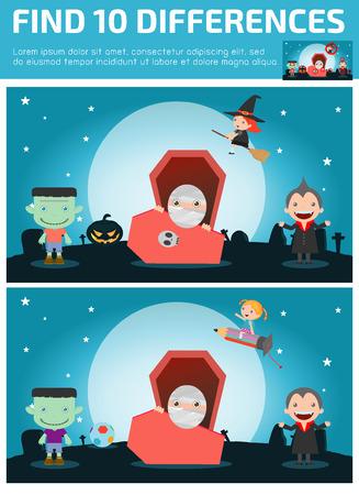 jeu: trouver des diff�rences, jeu pour les enfants, trouver des diff�rences, des jeux de cerveau, les enfants, jeu �ducatif pour les enfants d'�ge pr�scolaire, illustration vectorielle, Happy Halloween. Illustration