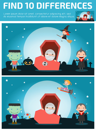 find differences,Game for kids ,find differences,Brain games, children game, Educational Game for Preschool Children, Vector Illustration, Happy Halloween.