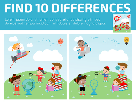 spot the difference: find differences,Game for kids ,find differences,Brain games, children game, Educational Game for Preschool Children, Vector Illustration, education concept, back to school template with kids.