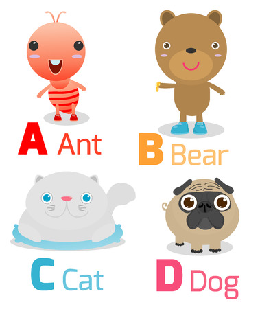 cat alphabet: Cute alphabet with funny animals from A to D , Illustration of alphabet with animals A B C D,ant,bear,cat,dog, Funny cartoon animals on white background, Vector Illustration.
