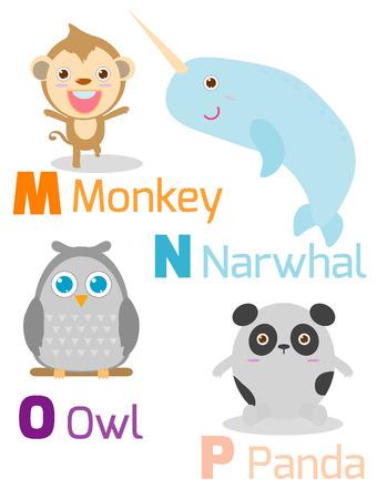 alfabeto con animales: Alfabeto lindo con los animales divertidos de M a P, Ilustración del alfabeto con los animales MNOP, mono, narval, búho, panda, animales divertidos dibujos animados sobre fondo blanco, ilustración vectorial.