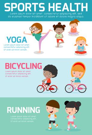 salud y deporte: Deportes Infografía Salud, Deportes Salud gente concepto de ejercicio, andar en bicicleta, correr, yoga. Salud de los Niños deportes, salud infantil deportes, ilustración vectorial. Vectores