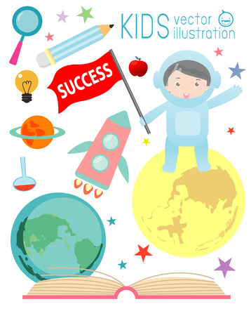 cartoon rocket: happy cartoon kids on space with rocket education , spaceman, education concept, back to school template with kids, Kids go to school, back to school, Cute cartoon children, icons, Vector Illustration