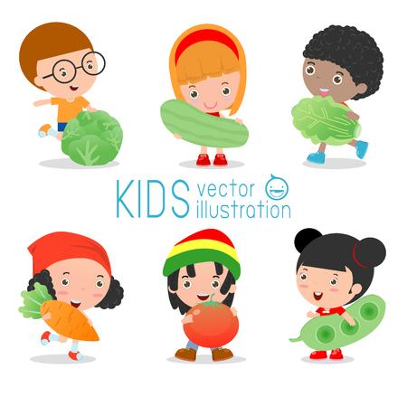 pepino caricatura: Niños felices, sonrientes verduras en vivo, Niños y verduras, saludable concepto de alimentos los niños, los niños en la granja,